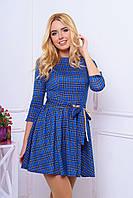 Короткое синее платье в клетку