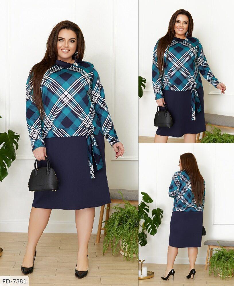 Красиве ділове плаття з французького трикотажу вільного крою в принт Розмір: 50, 52, 54, 56-58 арт. 3262