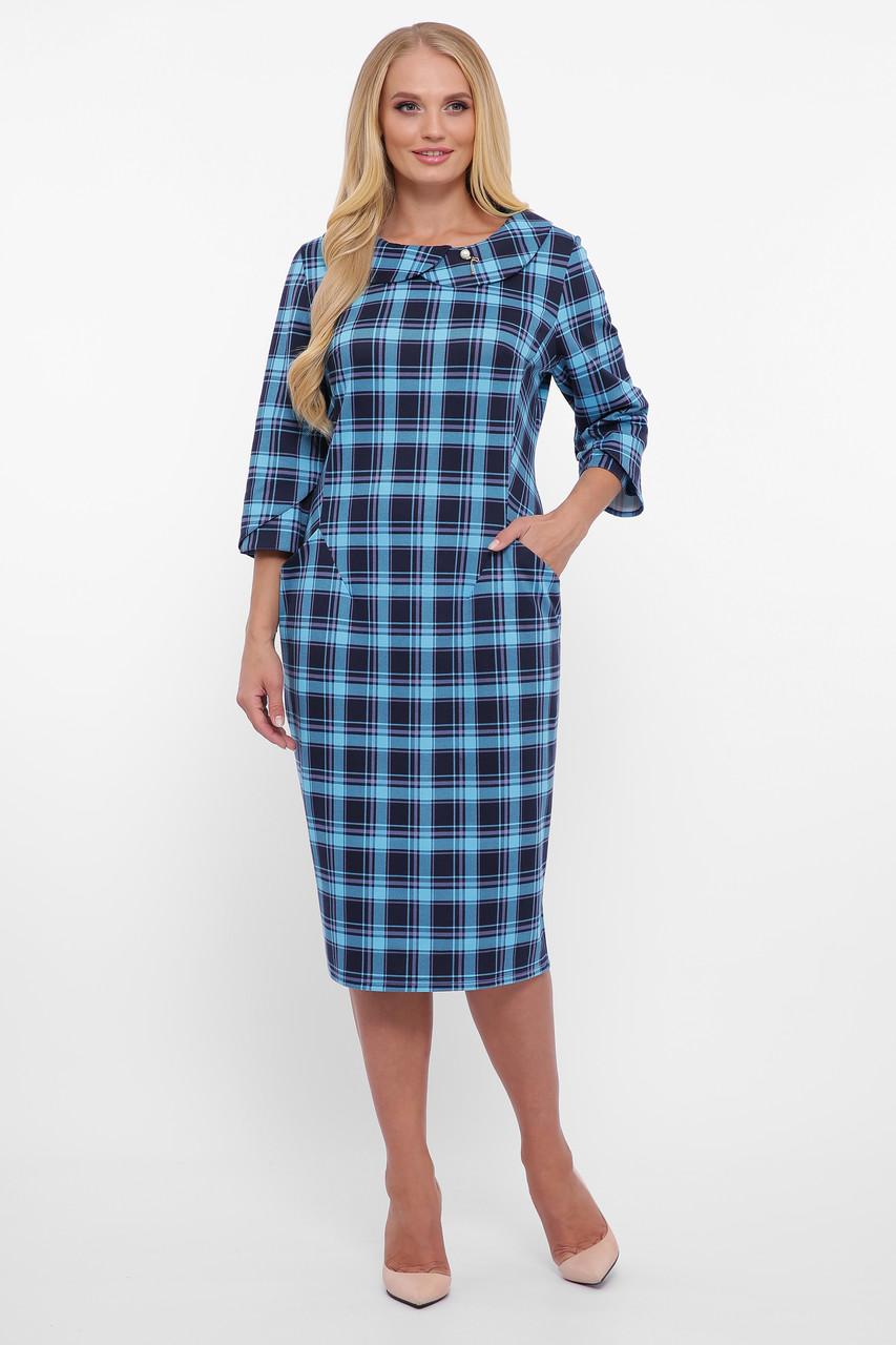 Трикотажное  платье Мэри голубая клетка