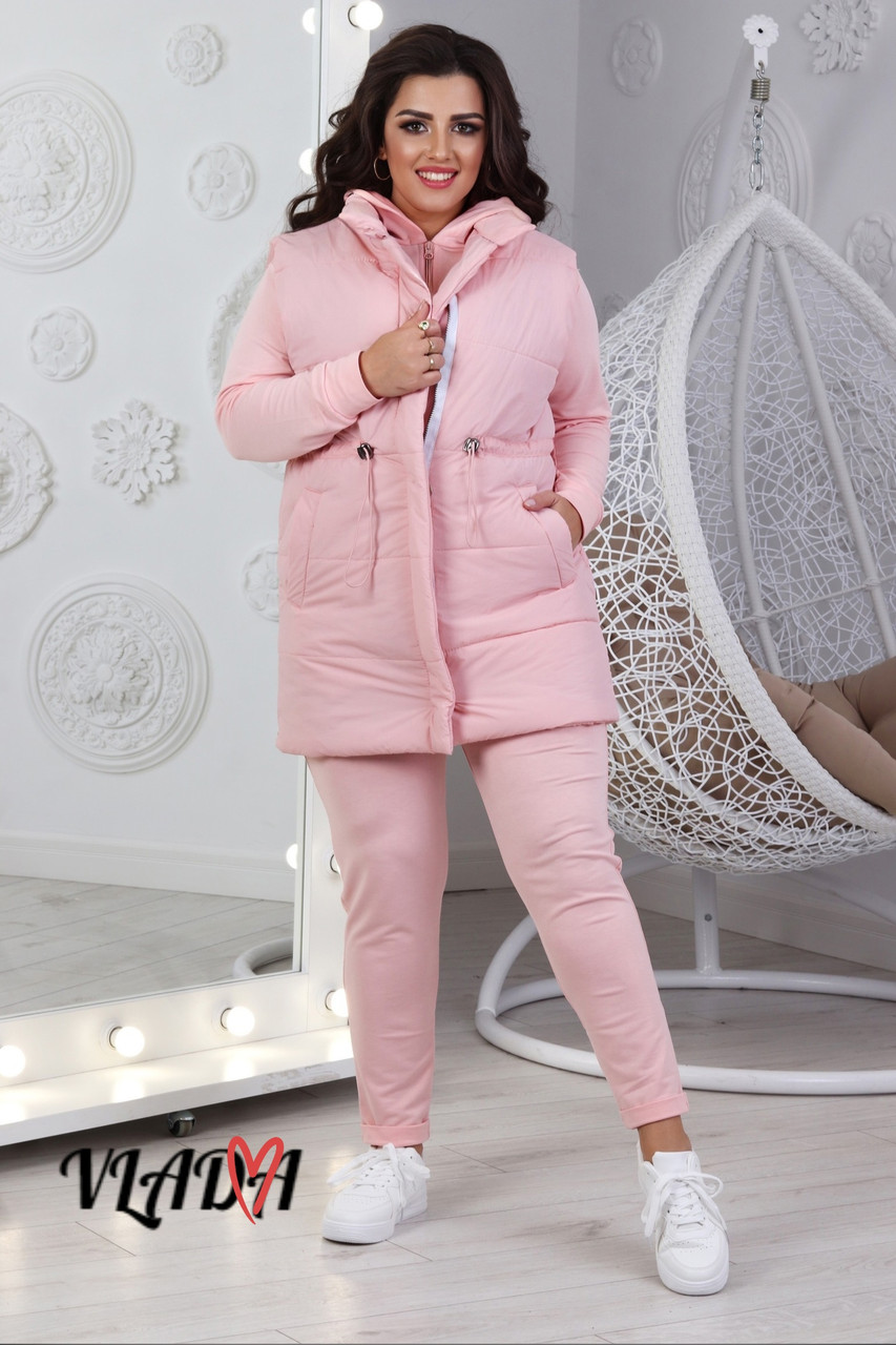 Жіночий осінній спортивний костюм трійка: жилетка, кофта з капюшоном і штани, норма і батал великі розміри