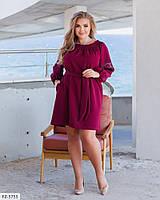 Короткое однотонное милое платье из костюмной ткани под пояс рукав фонарик Размер: 48-50, 50-52 арт. 441, фото 1