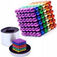 Неокуб Neocube разноцветный 216 шариков 5мм в металлическом боксе. Магнитный конструктор антистресс