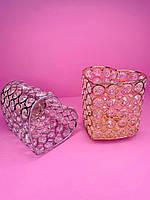 Стакан-подставка большая  с камнями сердце (золото, серебро)