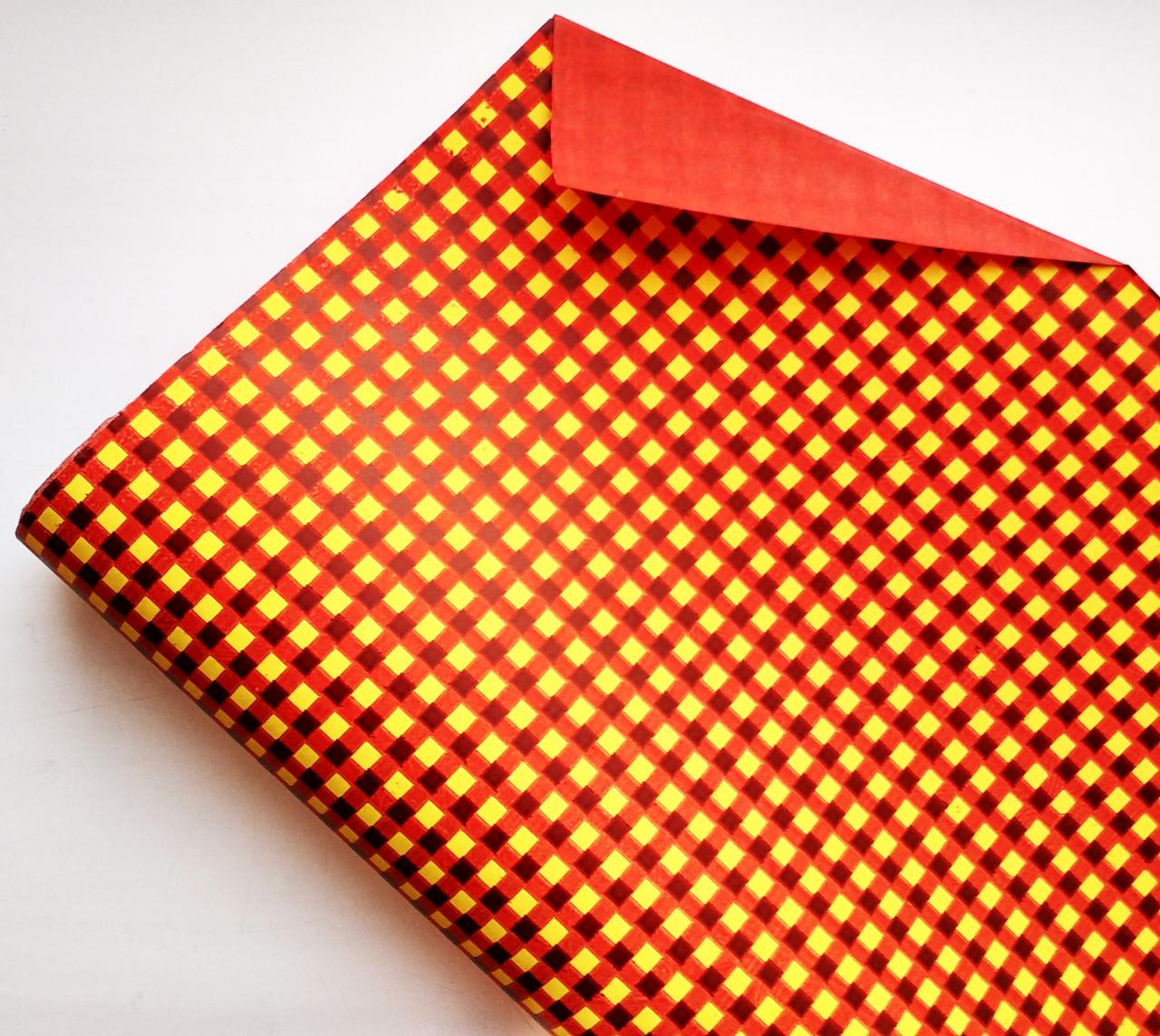 Бумага флористическая Клетка желтая на красном