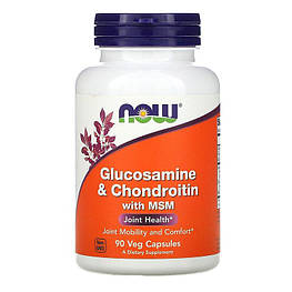 Glucosamine & Chondroitin with MSM Now Foods 90 капсул