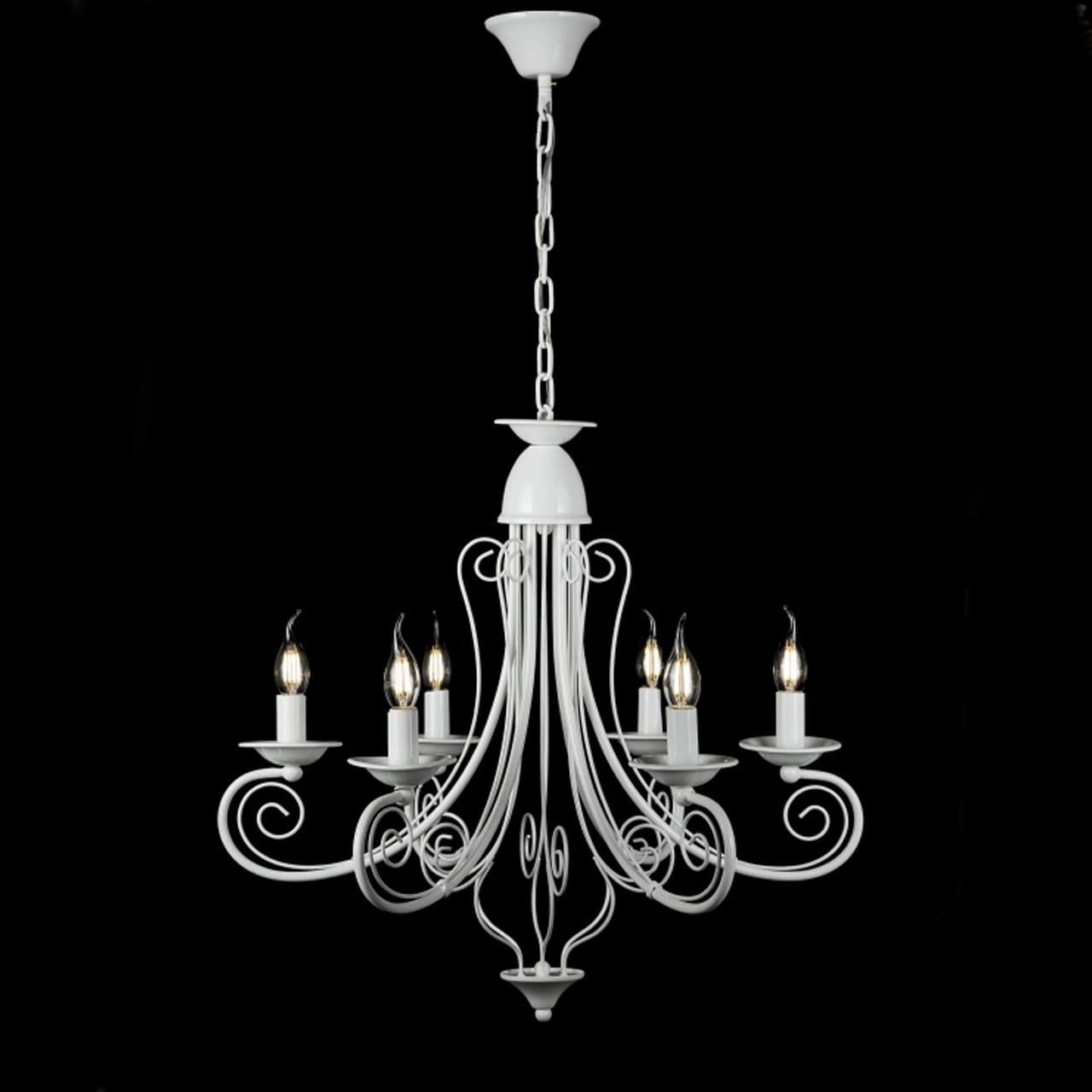 Класична люстра-свічка на 6 ламп біла СветМира VL-L30689/6 (WT)