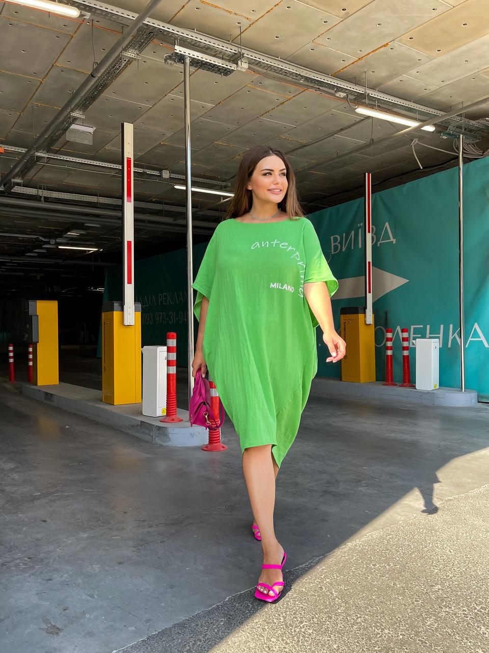Стильна літня сукня з жатого льону мішкуватого фасону оверсайз, батал великі розміри