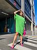 Стильна літня сукня з жатого льону мішкуватого фасону оверсайз, батал великі розміри, фото 4