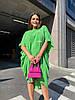 Стильна літня сукня з жатого льону мішкуватого фасону оверсайз, батал великі розміри, фото 5