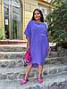 Стильна літня сукня з жатого льону мішкуватого фасону оверсайз, батал великі розміри, фото 10