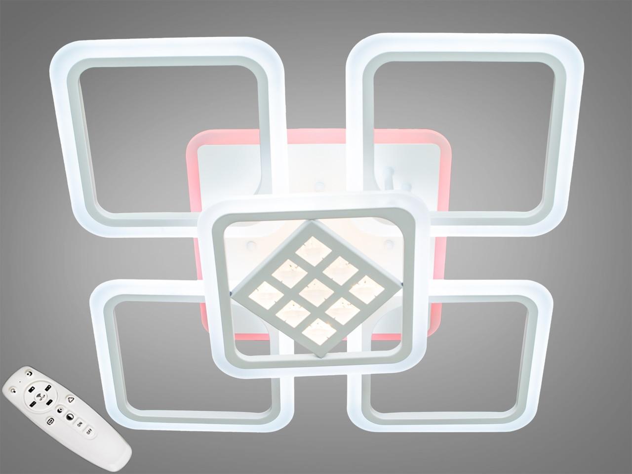 Стельова світлодіодна люстра з діммером A2104/4+1WH LED 3color dimmer