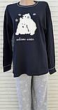 Жіноча трикотажна піжама великого розміру з довгим рукавом Ведмедики розмір 3XL, фото 2