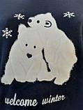 Женская трикотажная пижама большого размера с длинным рукавом Мишки размер XL, фото 3