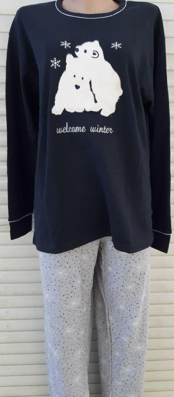 Женская трикотажная пижама большого размера с длинным рукавом Мишки размер 2XL