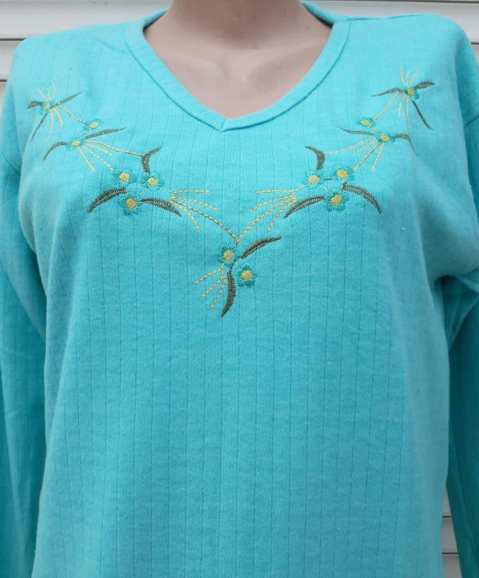 Тепла кашемірова нічна сорочка Красива ночнушка Бірюза розмір M
