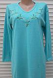 Тепла кашемірова нічна сорочка Красива ночнушка Бірюза розмір M, фото 7
