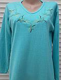 Тепла кашемірова нічна сорочка Красива ночнушка Бірюза розмір M, фото 8