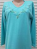 Тепла кашемірова нічна сорочка Красива ночнушка Бірюза розмір M, фото 9