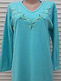 Тепла кашемірова нічна сорочка Красива ночнушка Бірюза розмір M, фото 10