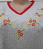 Теплая кашемировая ночная рубашка Красивая ночнушка Красные цветочки размер M, фото 3
