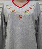 Теплая кашемировая ночная рубашка Красивая ночнушка Красные цветочки размер M, фото 4