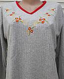 Теплая кашемировая ночная рубашка Красивая ночнушка Красные цветочки размер M, фото 5