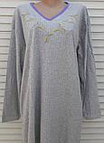 Теплая кашемировая ночная рубашка Красивая ночнушка Сиреневые цветочки размер L, фото 10