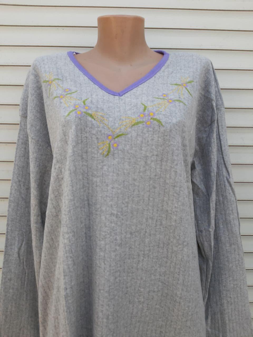 Теплая кашемировая ночная рубашка Красивая ночнушка Сиреневые цветочки размер XL