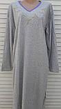 Теплая кашемировая ночная рубашка Красивая ночнушка Сиреневые цветочки размер XL, фото 4