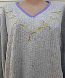 Теплая кашемировая ночная рубашка Красивая ночнушка Сиреневые цветочки размер XL, фото 6