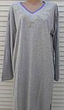 Теплая кашемировая ночная рубашка Красивая ночнушка Сиреневые цветочки размер XL, фото 7