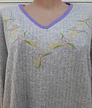 Теплая кашемировая ночная рубашка Красивая ночнушка Сиреневые цветочки размер XL, фото 8