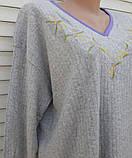 Теплая кашемировая ночная рубашка Красивая ночнушка Сиреневые цветочки размер XL, фото 9