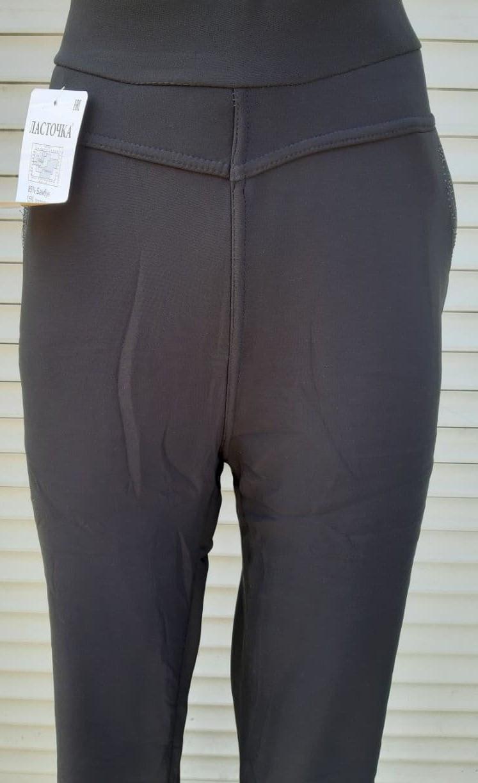 Брюки женские теплые Ласточка большого размера Красивые брюки с мехом внутри черные 5XL