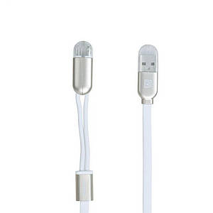 Кабель 2-in-1 Remax RC-025T Twins Cable Lightning-microUSB-USB Metal Box 1m White