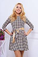 Женское платье шотландка с поясом