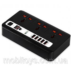 Сетевой удлинитель Bokali BKL-04 2M (3 розетки, 5 USB, 3,4A) Black