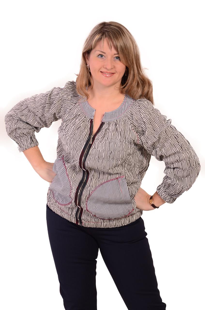 Блуза женская на молнии из жатого хлопка большого размера