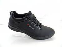Кожаные мужские кроссовки Columbia model (К1-Т) чёрные