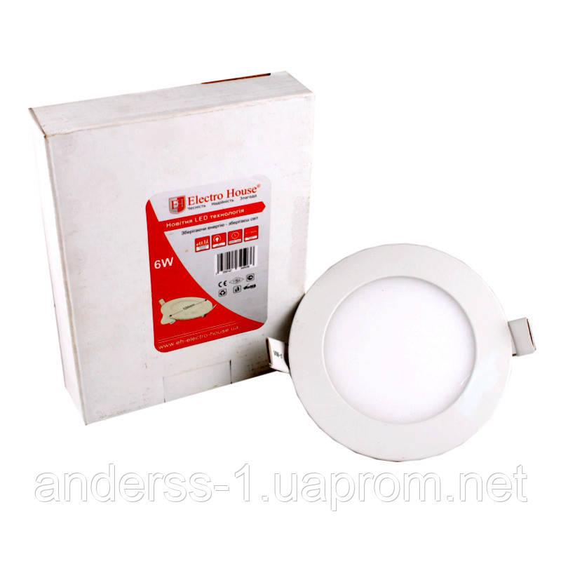 LED панель Кругла 4100К Ø 120мм/Ø раб. 100мм 6 Вт 540 Лм