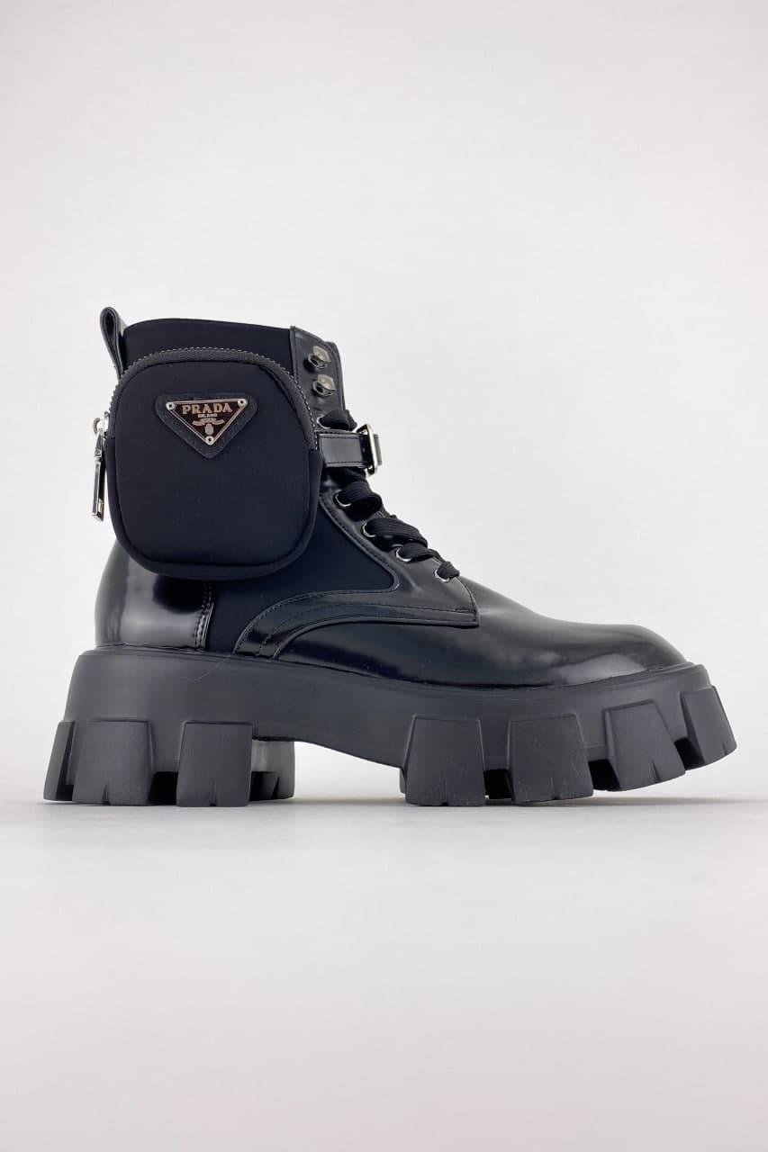 Жіночі черевики Prada Monolith Low (Чорний) C-2374 демісезонна стильне взуття для дівчини