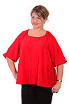 Блуза женская красная из шелка свободная в этностиле с поясом, фото 2