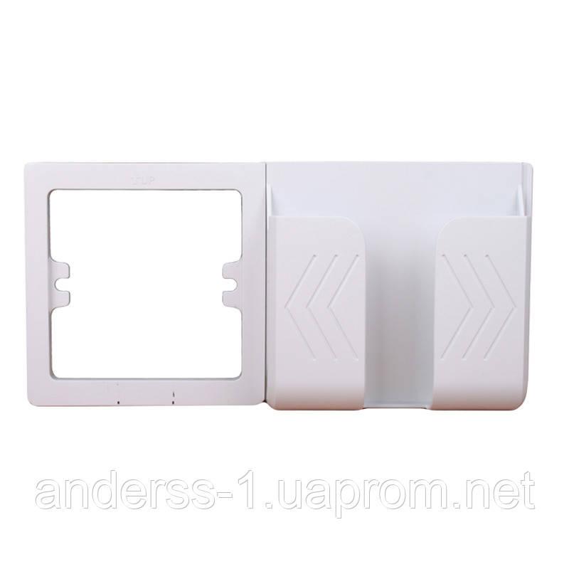 Рамка держатель телефона на стену под розетку Белый Пластик