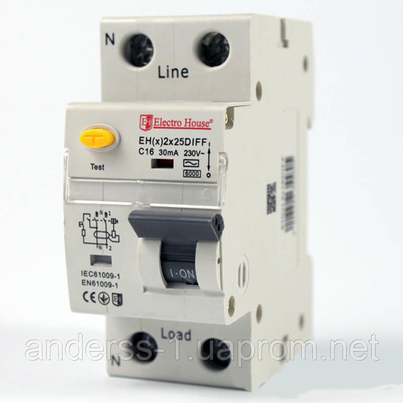 Дифференциальный автомат  25 A 1p+N (1модуль) 230-240 В 6 кА
