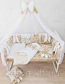 """Постільний набір """"Бант"""" для дитячого ліжечка, ковдра-конверт"""