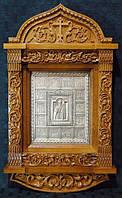 Икона Святого Николая Чудотворца в резном киоте
