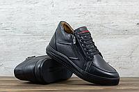 Чёрные кожаные зимние ботинки Cevivo   натуральная кожа + натуральная шерсть + ТПУ