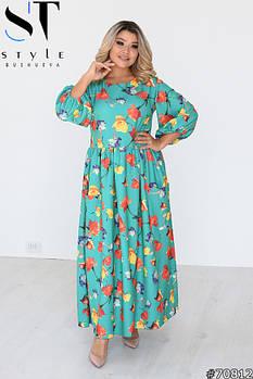 Нежное женственное платье с пышными рукавами и цветочным принтом с 46 по 60 размер