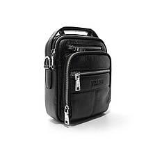 Чоловіча шкіряна маленька сумочка органайзер чорна через плече модна міні сумка з натуральної шкіри