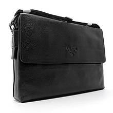 Чоловіча сумка папка формату А4 чорна шкіряна через плече ділова сумка сумка для паперів з натуральної шкіри
